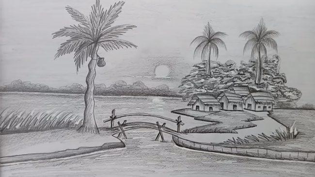 Dạy vẽ tranh phong cảnh vẽ bằng bút chì hình ảnh 2