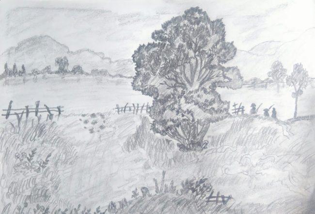 Giới thiệu tranh phong cảnh vẽ chì hình ảnh 2