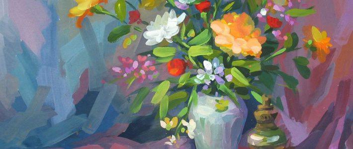 Tranh vẽ tĩnh vật lọ hoa và quả đơn giản – Bước đầu học vẽ