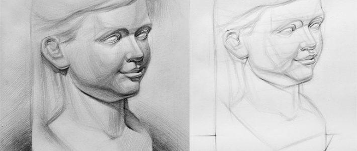 Cách vẽ tượng thạch cao phần đầu người và các bước tiến hành
