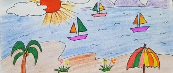 Hướng dẫn vẽ tranh phong cảnh biển đơn giản